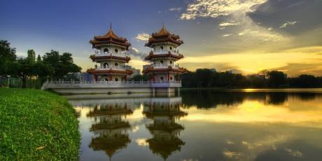 Two Chinese Pagoda at sun set.