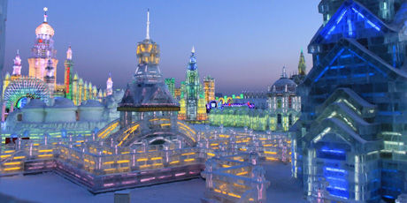Ice Palace at Harbin Ice Festival evening setting